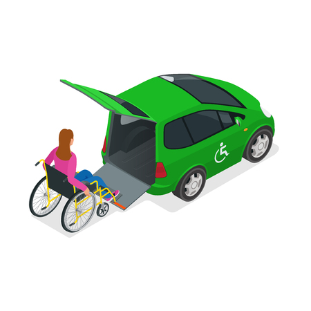 physically: Taxi or car for woman on wheelchair. Vehicle with a lift. Mini car for physically disabled people. Flat 3d vector isometric illustration.