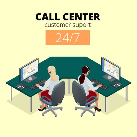 call center female: Vector concept of call center. Technical support or dispatcher call center. Female operator on call center. Flat 3d vector isometric illustration Illustration