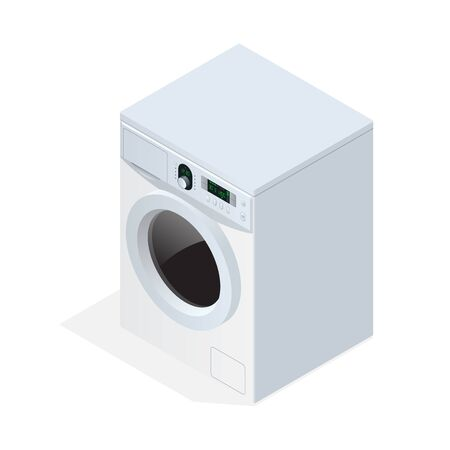 clothes washer: Modern washing machine isolated on white background. Flat 3d vector isometric illustration Illustration
