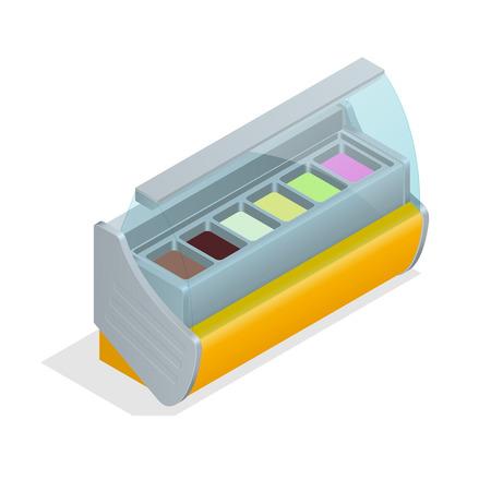 icecream sundae: Refrigeration equipment for ice cream for supermarkets, shops, cafes and restaurants. Flat 3d isometric illustration