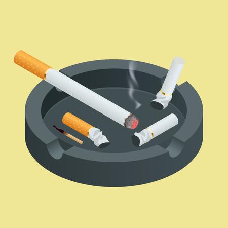 Schwarze Keramik Aschenbecher voller Zigaretten raucht. Wohnung 3D-Vektor-isometrische Darstellung