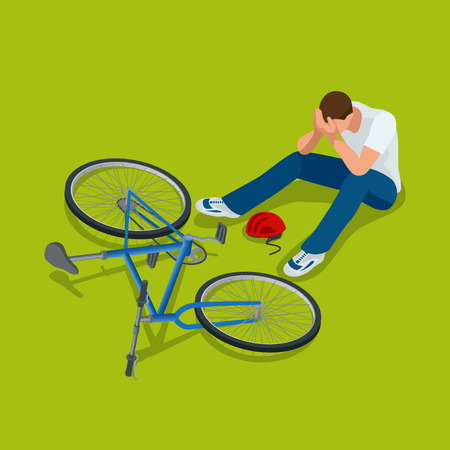 helmet bike: Bicycle accident. Man falls off his bicycle. Flat 3d vector isometric illustration