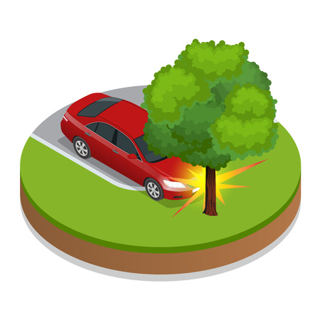 car speed: Car accident. Car crash. Flat 3d vector isometric illustration. Accident road situation danger car crash and accident road collision safety emergency transport. Accident dangerous speed