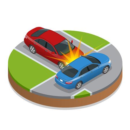 Accidente automovilistico. accidente de coche. 3D isométrico ilustración vectorial plana. accidente de coche situación de la carretera peligro de accidentes y transporte de emergencia colisión de seguridad vial accidente. velocidad peligrosa accidente Foto de archivo - 58589877