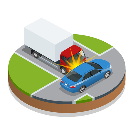 injury: Car accident. Car crash. Flat 3d vector isometric illustration. Accident road situation danger car crash and accident road collision safety emergency transport. Accident dangerous speed