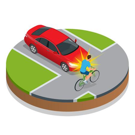 교통 사고. 차량으로 자전거 사고. 플랫 3d 벡터 아이소 메트릭 그림입니다. 사고 도로 상황 위험 자동차 충돌 및 사고 도로 충돌 안전 비상 전송 일러스트