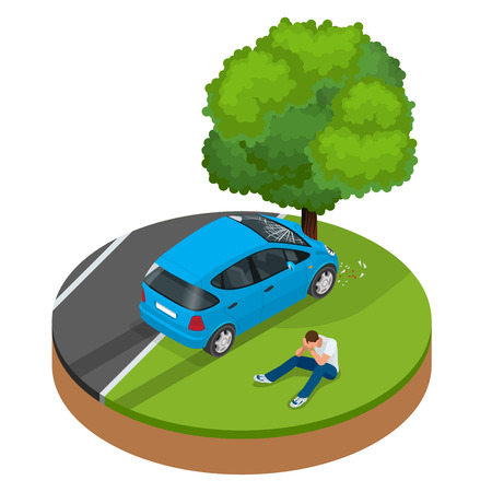 wrack: Car crashed into tree. Car crash collision traffic insurance. Car crash safety automobile emergency disaster. Auto accident involving car crash city street vector isometric illustration