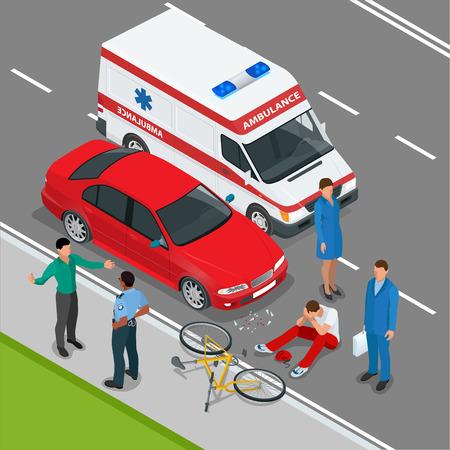 ambulance: Accidente automovilistico. accidente de coche. 3D isométrico ilustración vectorial plana. accidente de coche situación de la carretera peligro de accidentes y transporte de emergencia colisión de seguridad vial accidente. velocidad peligrosa accidente