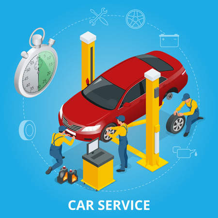 paint gun: Car repair service center. Tire service flat set with shop car repair mechanics. Flat 3d isometric vector illustration Illustration