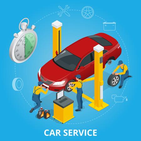 paint gun: Car repair service center. Tire service flat set with shop car repair mechanics. Flat 3d isometric vector illustration Illustration