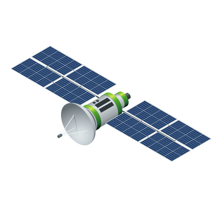 GPS satellite. Orbiting satellite isolated on white. Flat 3d vector isometric illustration