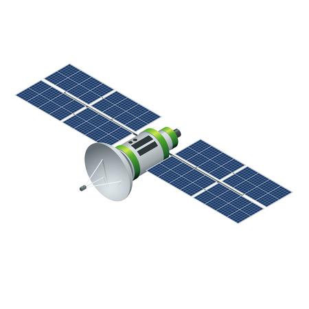 satellitare GPS. Satellite in orbita isolato su bianco. Piatto 3d illustrazione vettoriale isometrico Vettoriali