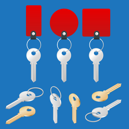 ollection: ollection of different house keys isolated on white background. Keys set. Flat 3d vector isometric illustration