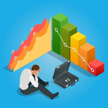 stockholder: Depressed Businessman Leaning His Head Below a Bad Stock Market Chart. Flat 3d vector isometric illustration. Illustration