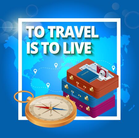 foto: Travel concept. Travel bags, passport, foto camera and travel ticket and airplane in sky. Isometric flat 3d vector illustration