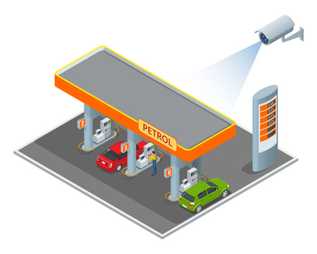 computerized: CCTV security camera on isometric illustration of petrol diesel station. 3d isometric vector illustration Stock Photo