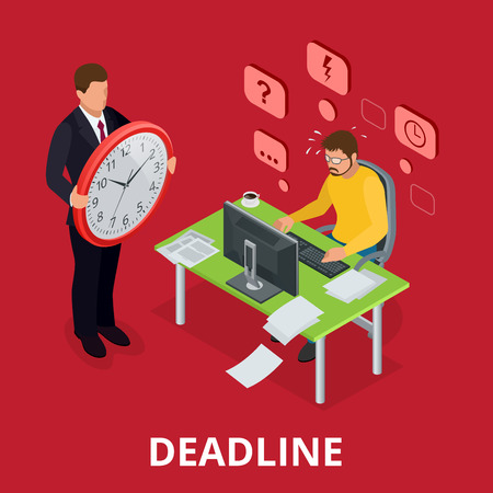 out time: Deadline Concept of overworked man. Flat 3d vector isometric illustration Illustration