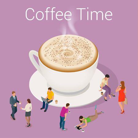 socializing: la hora del caf� o caf�. Grupo Las personas que charlan Interacci�n Socializar Concepto. Piso 3d ilustraci�n isom�trica del vector
