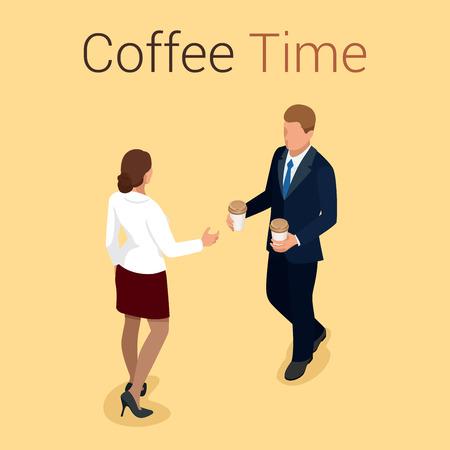 socializando: la hora del café o café. Grupo Las personas que charlan Interacción Socializar Concepto. Piso 3d ilustración isométrica del vector