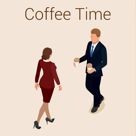 socialising: la hora del café o café. Grupo Las personas que charlan Interacción Socializar Concepto. Piso 3d ilustración isométrica del vector