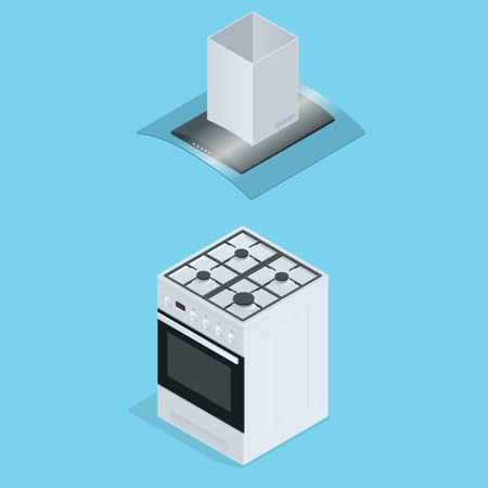 extractor: Interior of kitchen, metal pan on the stove, cooking. Vector illustration in flat style. Flat 3d isometric illustration