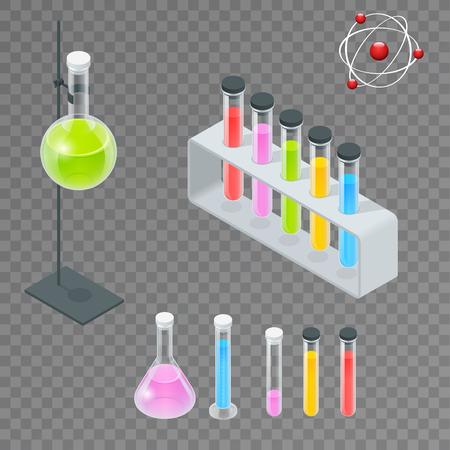 distilling: Chemical test tube pictogram icons set.
