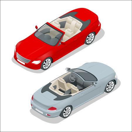 Ilustracja wektorowa izometryczny samochód Cabriolet. Płaski 3d kabriolet obrazu. Transport na letnie podróże. Samochód sportowy