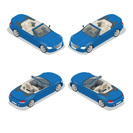 cabriolet: Cabriolet car isometric vector illustration. Flat 3d convertible image. Transport for summer travel. Sports car vehicle Illustration