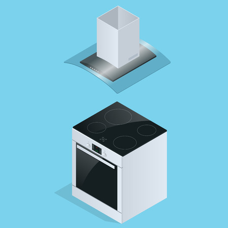 aspirator: Extractor hood and Electric stove for kitchen illustration isolated on white background. Extractor hood icon. Flat 3d isometric illustration.