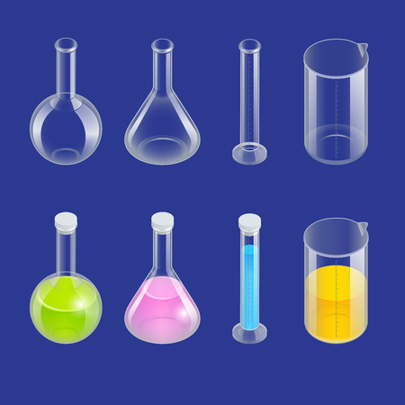 distilling: Chemical test tube pictogram icons set. Erlenmeyer flask, distilling flask, volumetric flask, test tube. Chemical lab equipment isolated. Experiment flasks for science experiment. Isometric 3d vector. Illustration