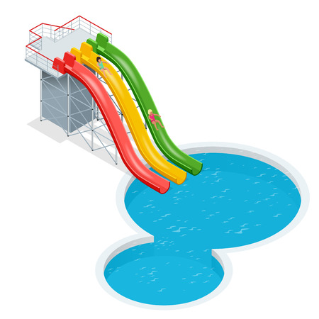colorful slide: Water slides isolated on a white background. Flat 3d vector isometric illustration Illustration