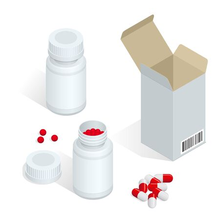 white pills: Modern pill bottle for pills or capsules. Isolated icon on white background. Flat 3d isometric vector illustration