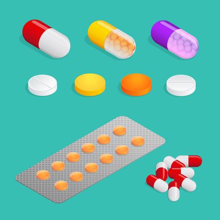 Medicamenti di vario tipo, set di pillole mediche. Molte pillole colorate. Cose per la salute umana Illustrazione isometrica di vettore 3d piatto