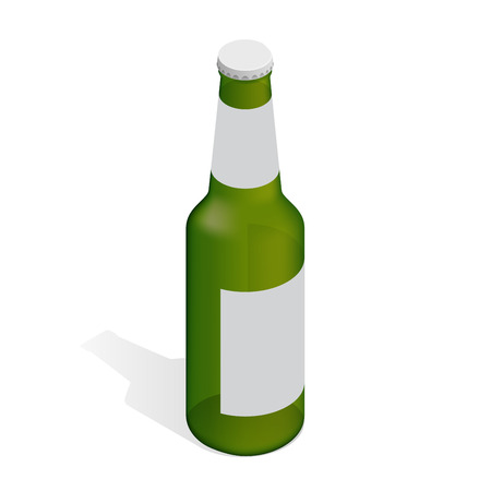 Bottle of beer with drops. Flat 3d isometric illustration