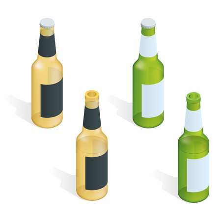 condensation: Bottle of beer with drops. Flat 3d vector isometric illustration