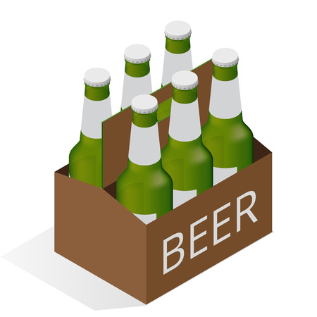 el color del icono del vector isométrica con el caso de la cerveza con seis botellas de cerveza. Piso 3d ilustración isométrica del vector Ilustración de vector