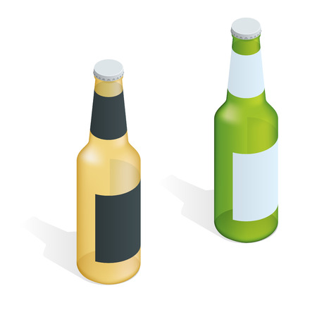 condensation on glass: Bottle of beer with drops. Flat 3d vector isometric illustration