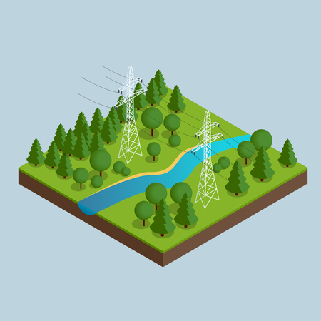 High voltage transmission lines and power pylons. High voltage towers. Electricity pylons. Vector illustration of industrial landscape. Flat 3d vector isometric illustration.
