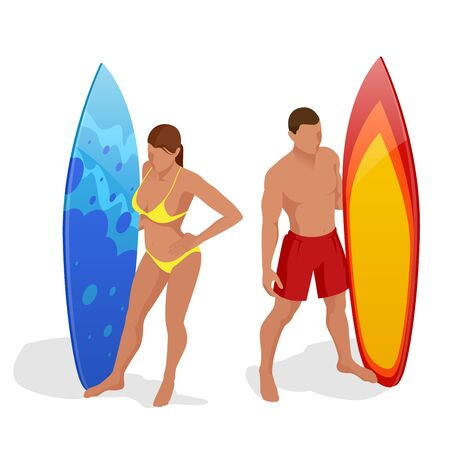 Young girl in bikini - surfer with surf board dive underwater with fun under big ocean wave. Family lifestyle, people water sport lessons and beach swimming activity on summer vacation Illustration