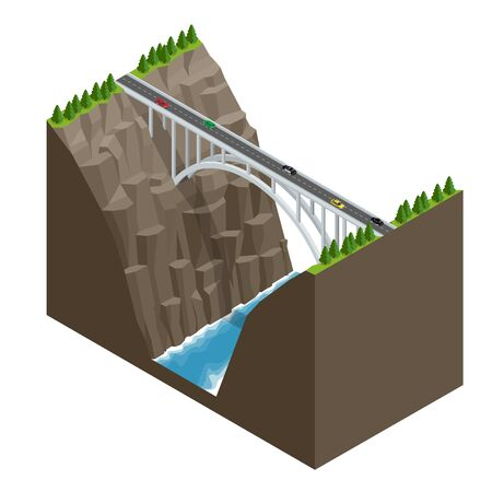 elevated: Bridge over the river in the mountains. Bridge construction flat isometric vector illustration