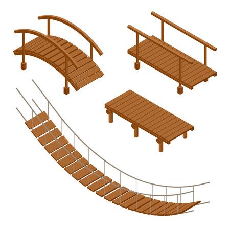 Puente colgante de madera, de madera y colgando de puente ilustraciones vectoriales. Conjunto isométrico 3d plana