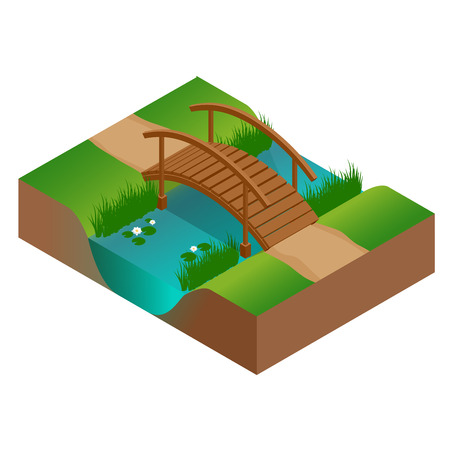 Wooden bridge at the river. Flat 3d vector isometric illustration
