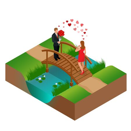 rendezvous: Pair of lovers on bridge. Romantic couple in love meeting. Love and celebrate concept. Man gives a woman a bouquet of roses. Romantic lovers dating. Vector flat 3d isometric illustration Illustration