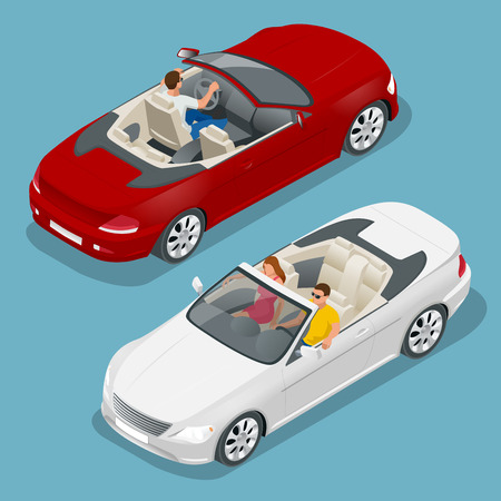 cabrio: Cabriolet car isometric vector illustration. Flat 3d convertible image. Transport for summer travel. Sports car vehicle Illustration