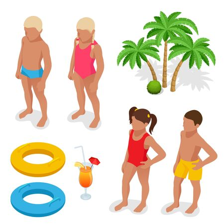 life preserver: Girl and boy in a bathing suit, palm tree, life preserver, Orange juice. Summertime concept. Flat 3d vector isometric set icons. Illustration