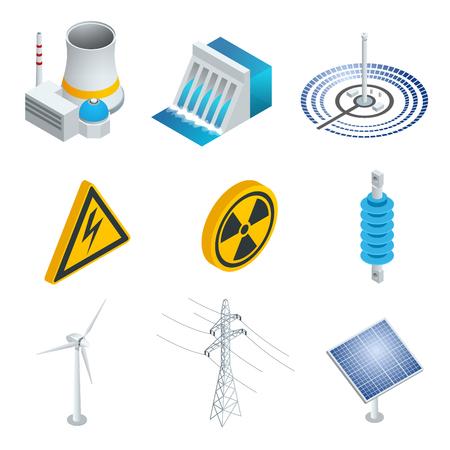 La central nuclear de potencia, la estación de energía solar, turbinas eólicas, paneles solares, central hidroeléctrica. Conjunto isométrico 3d plana. Ilustración del vector de iconos industriales Ilustración de vector