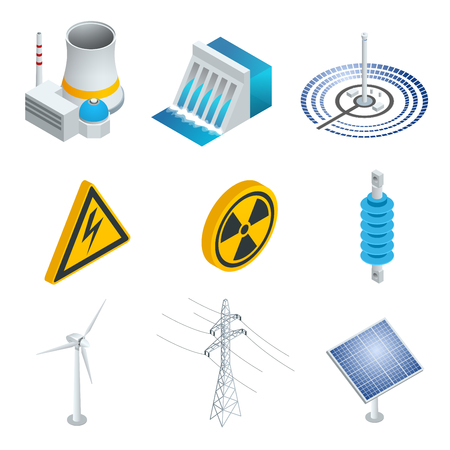 hydroelectric: Nuclear power station, Solar power station, Wind turbine, solar panel, hydroelectric power station. 3d flat isometric set. Vector illustration of industrial icons