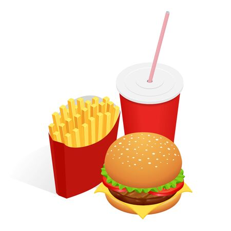 bun: Vector illustration of isometric food burger, French fries and cola. Fast food concept. Tasty snack