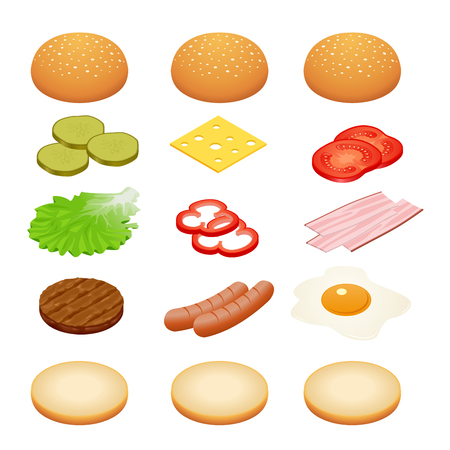 bun: Burger isometric. Burger ingredients on white backgrounds. Ingredients for burgers and sandwiches. Fried egg, onions, beef, cheese, cucumbers and other elements to build custom burger. Tasty snack