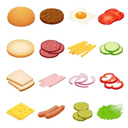 Burger izometrycznym. Składniki Burger na białym tle. Składniki na hamburgery i kanapki. Smażone jajka, cebula, wołowina, ser, ogórki i inne elementy do budowy własnego hamburgera. smaczne przekąski Ilustracje wektorowe